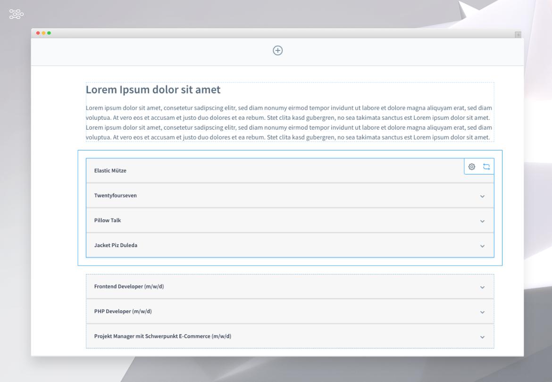 Aufklappbare Bereiche / Akkordeons für eine Erlebniswelt (bspw. für FAQ oder Karriereseiten)